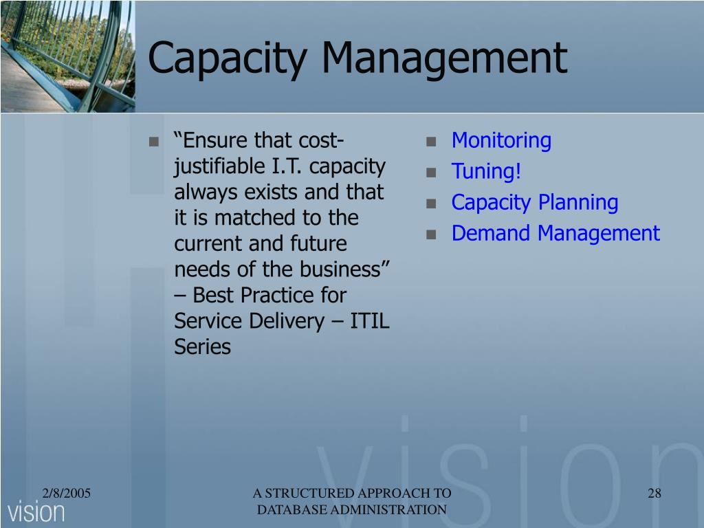 """""""Ensure that cost-justifiable I.T. capacity always exists and that it is matched to the current and future needs of the business"""" – Best Practice for Service Delivery – ITIL Series"""