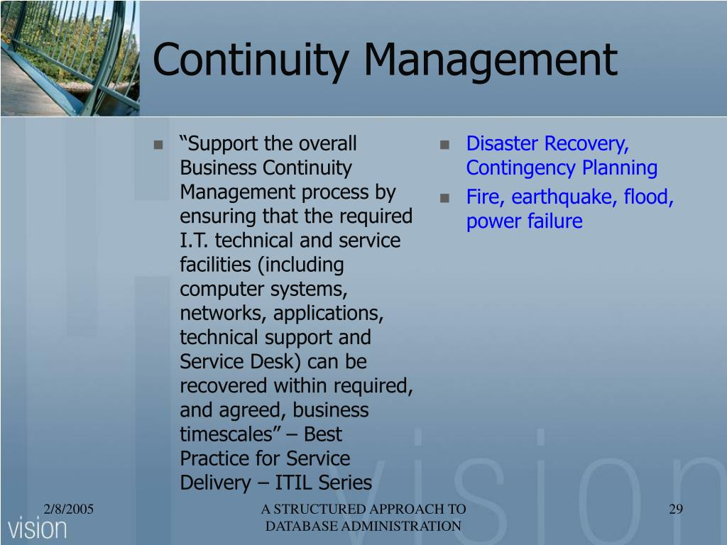 """Support the overall Business Continuity Management process by ensuring that the required I.T. technical and service facilities (including computer systems, networks, applications, technical support and Service Desk) can be recovered within required, and agreed, business timescales"" – Best Practice for Service Delivery – ITIL Series"