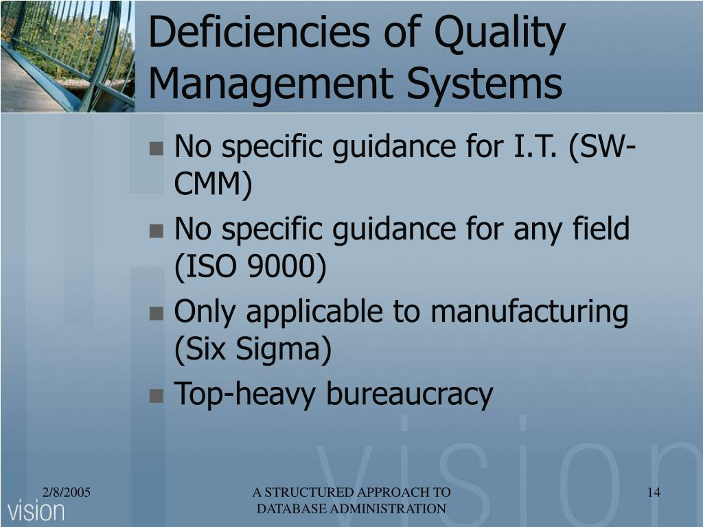 Deficiencies of Quality Management Systems
