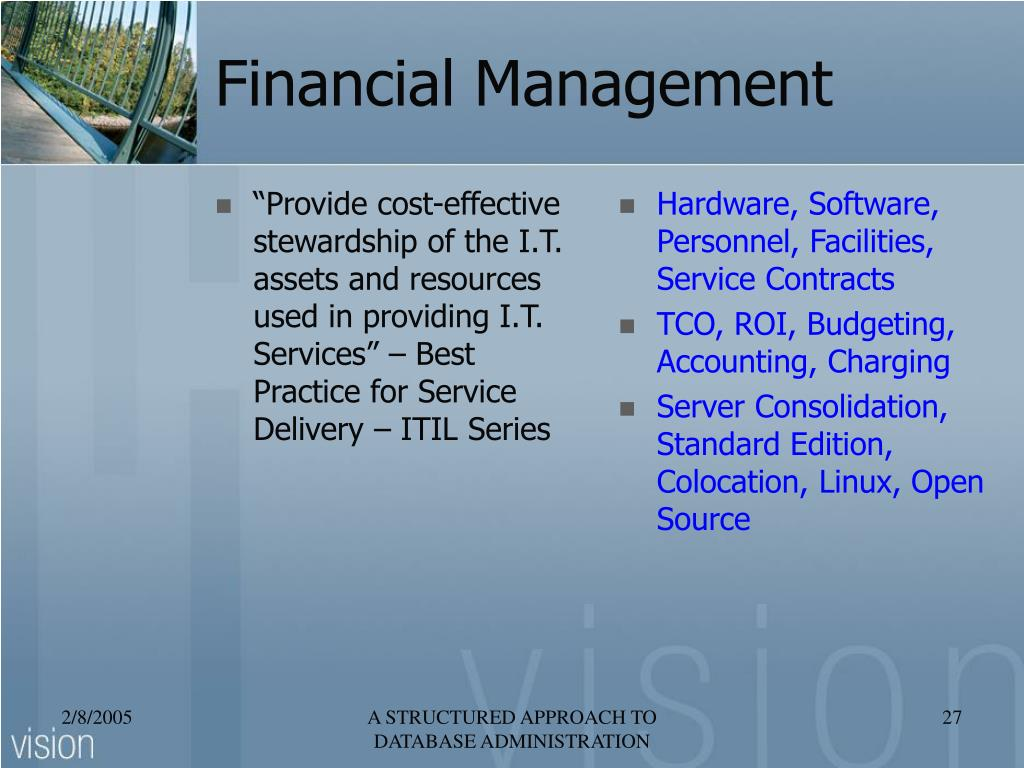 """""""Provide cost-effective stewardship of the I.T. assets and resources used in providing I.T. Services"""" – Best Practice for Service Delivery – ITIL Series"""