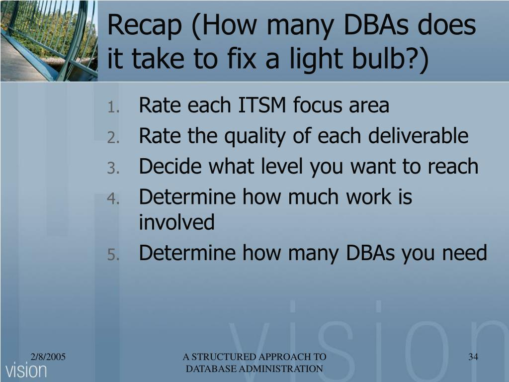 Recap (How many DBAs does it take to fix a light bulb?)