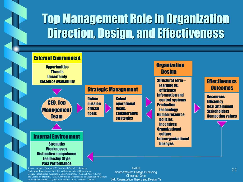 Top Management Role in Organization Direction, Design, and Effectiveness