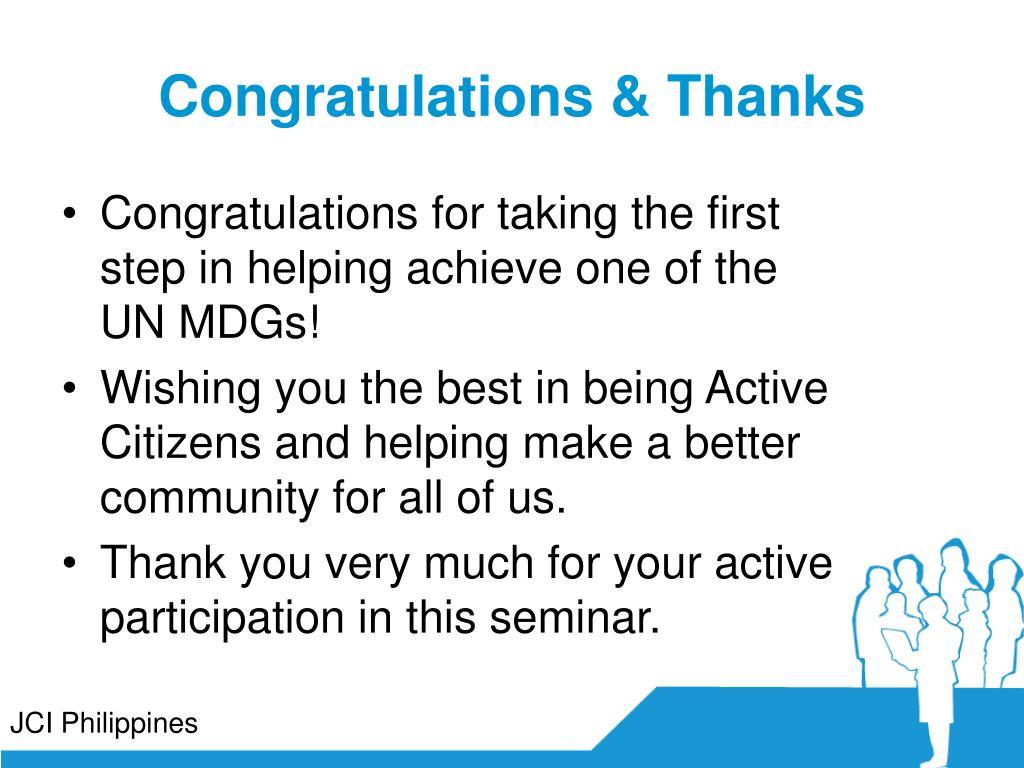 Congratulations & Thanks