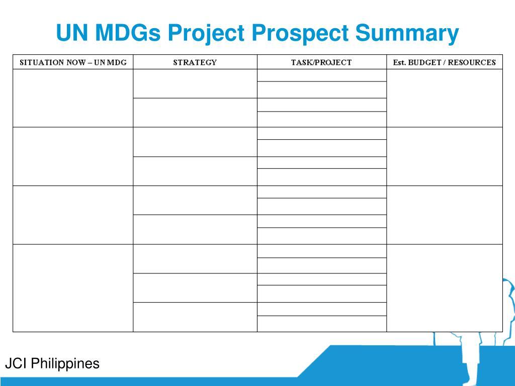 UN MDGs Project Prospect Summary