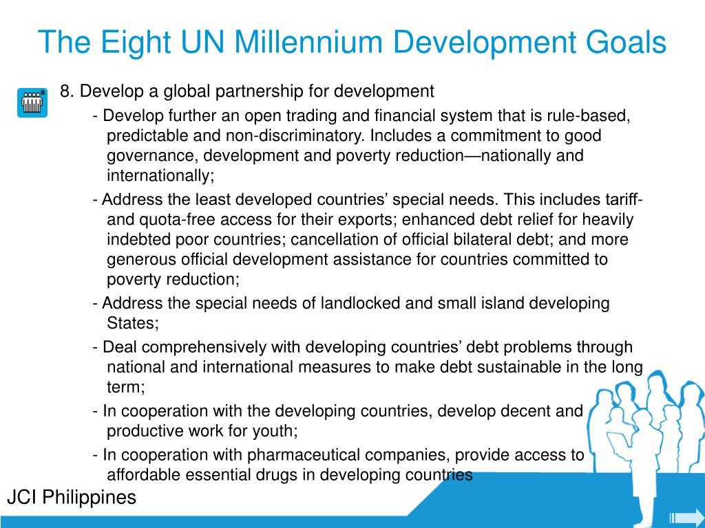 The Eight UN Millennium Development Goals