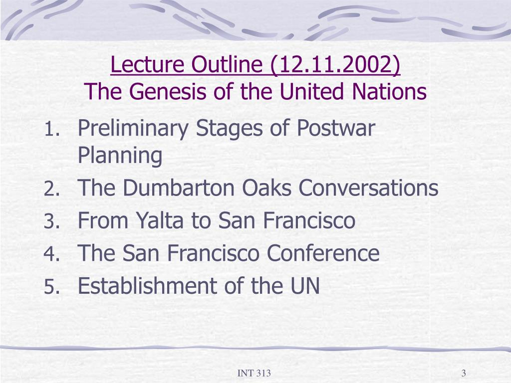 Lecture Outline (12.11.2002)
