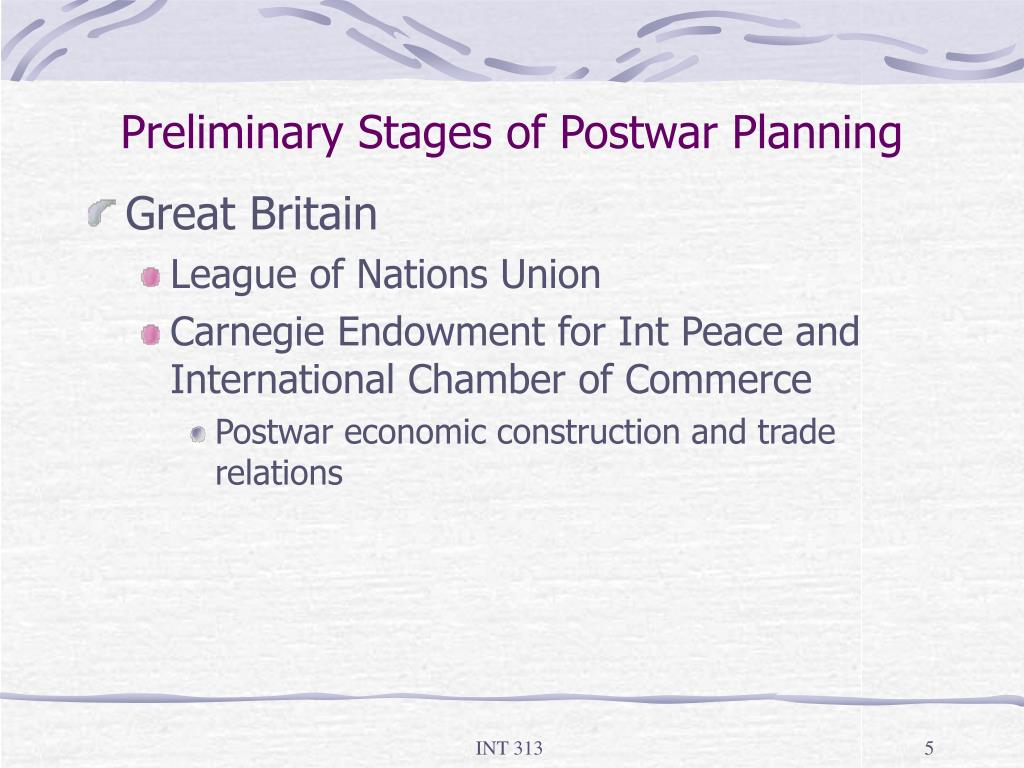 Preliminary Stages of Postwar Planning