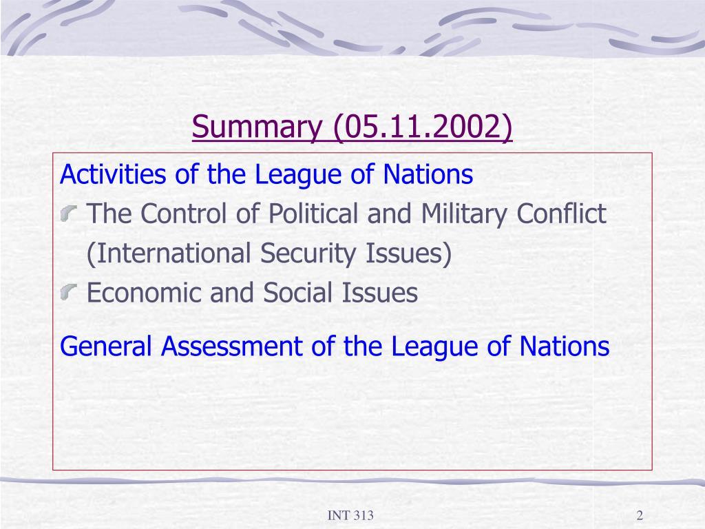 Summary (05.11.2002)