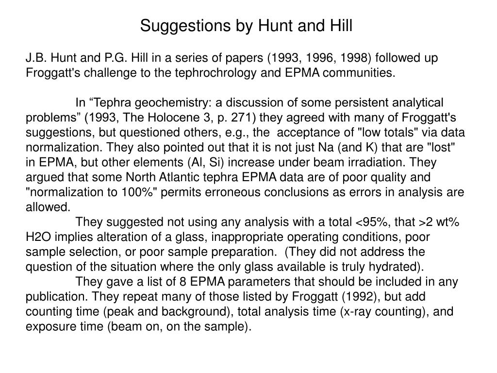 Suggestions by Hunt and Hill