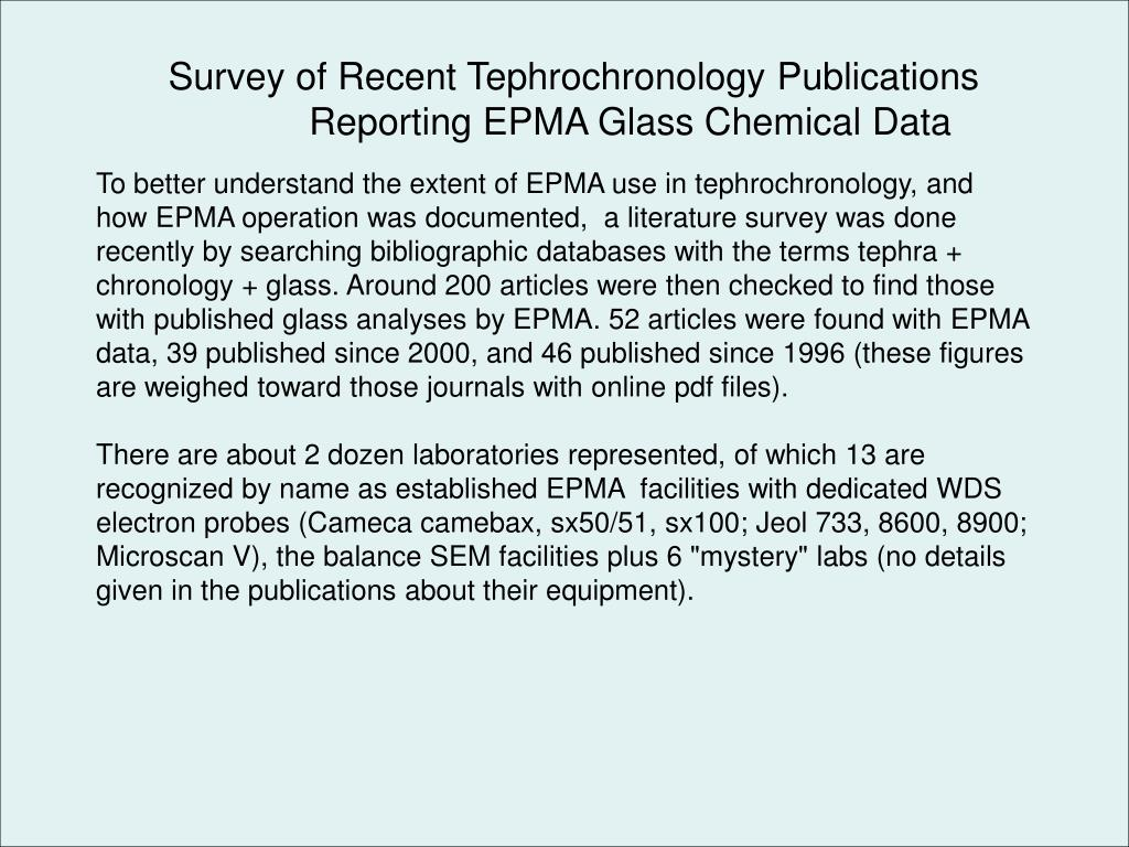 Survey of Recent Tephrochronology Publications 	Reporting EPMA Glass Chemical Data