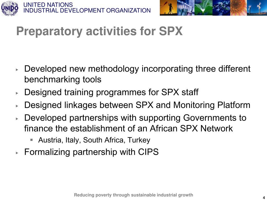 Preparatory activities for SPX