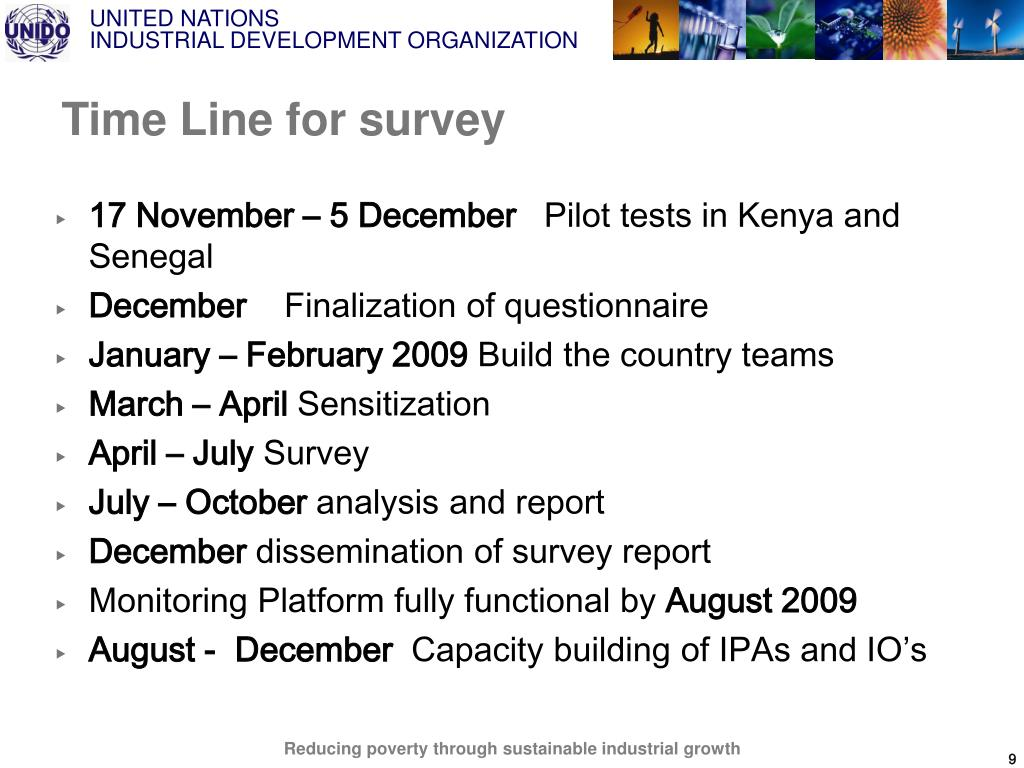 Time Line for survey