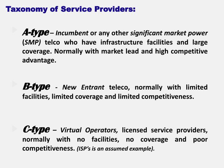 Taxonomy of Service Providers: