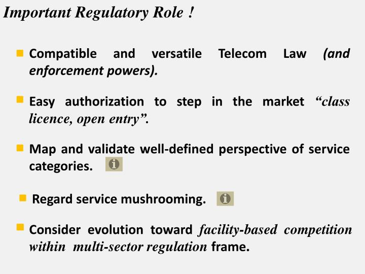 Important Regulatory Role !