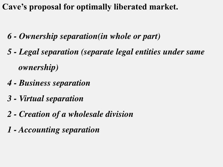 Cave's proposal for optimally liberated market.