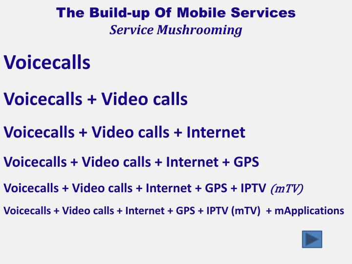 The Build-up Of Mobile Services