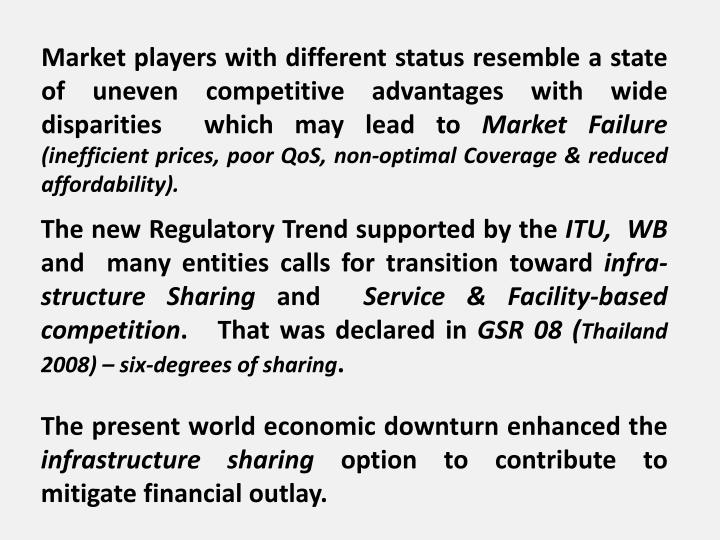 Market players with different status resemble a state of uneven competitive advantages with wide disparities  which may lead to