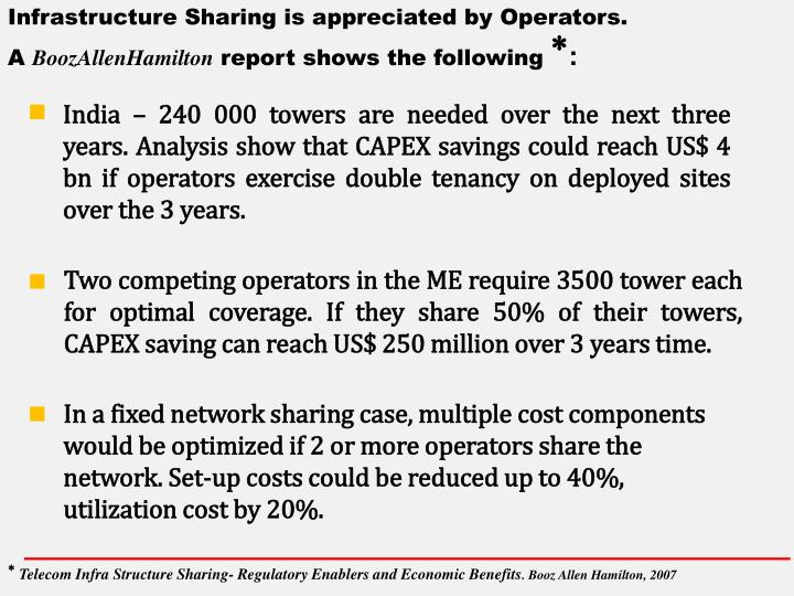 Infrastructure Sharing is appreciated by Operators.