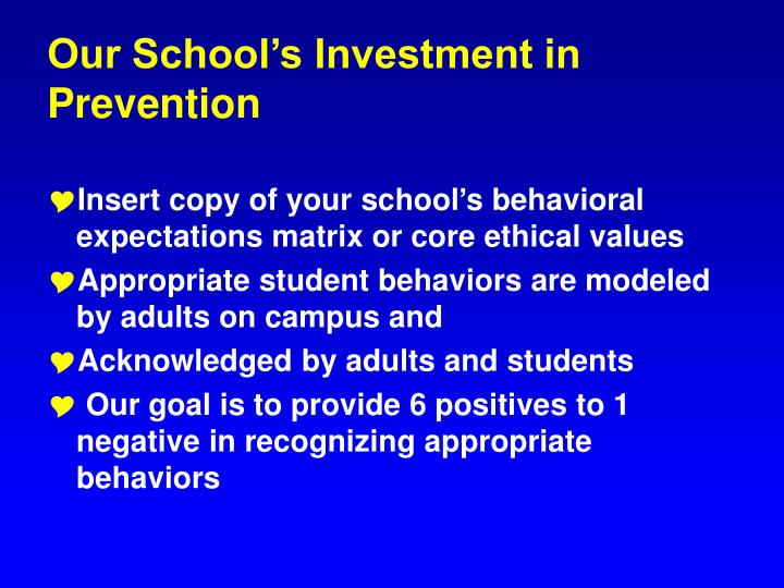 Our school s investment in prevention