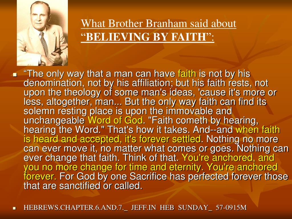 What Brother Branham said about ""