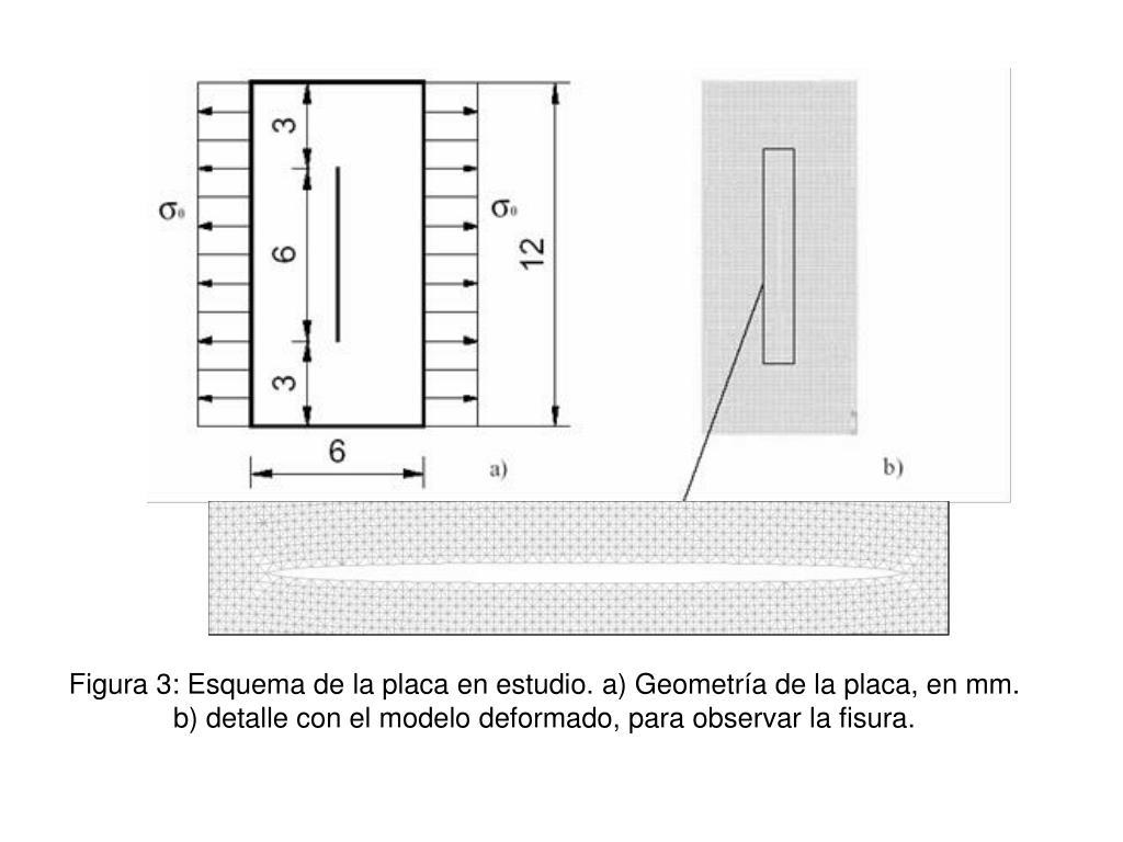 Figura 3: Esquema de la placa en estudio. a) Geometría de la placa, en mm.