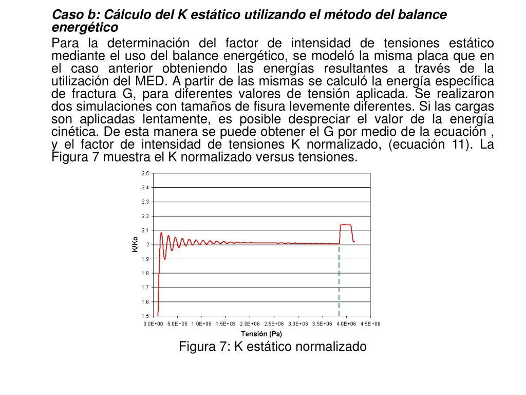 Caso b: Cálculo del K estático utilizando el método del balance energético