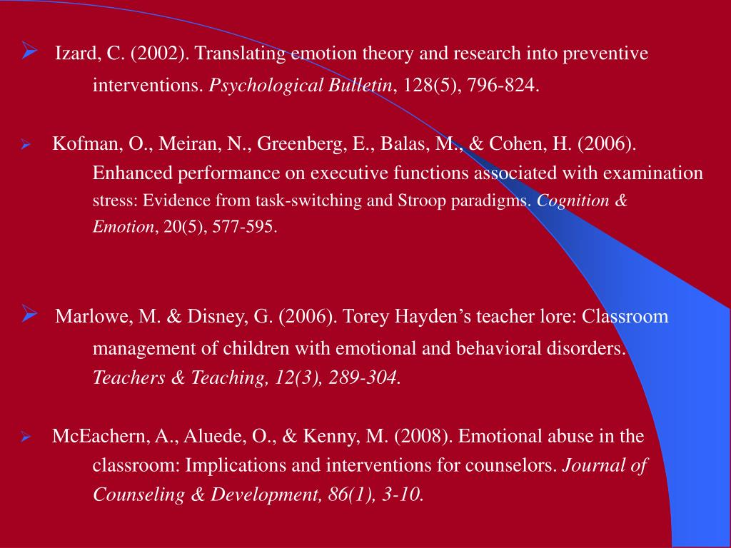 Izard, C. (2002). Translating emotion theory and research into preventive