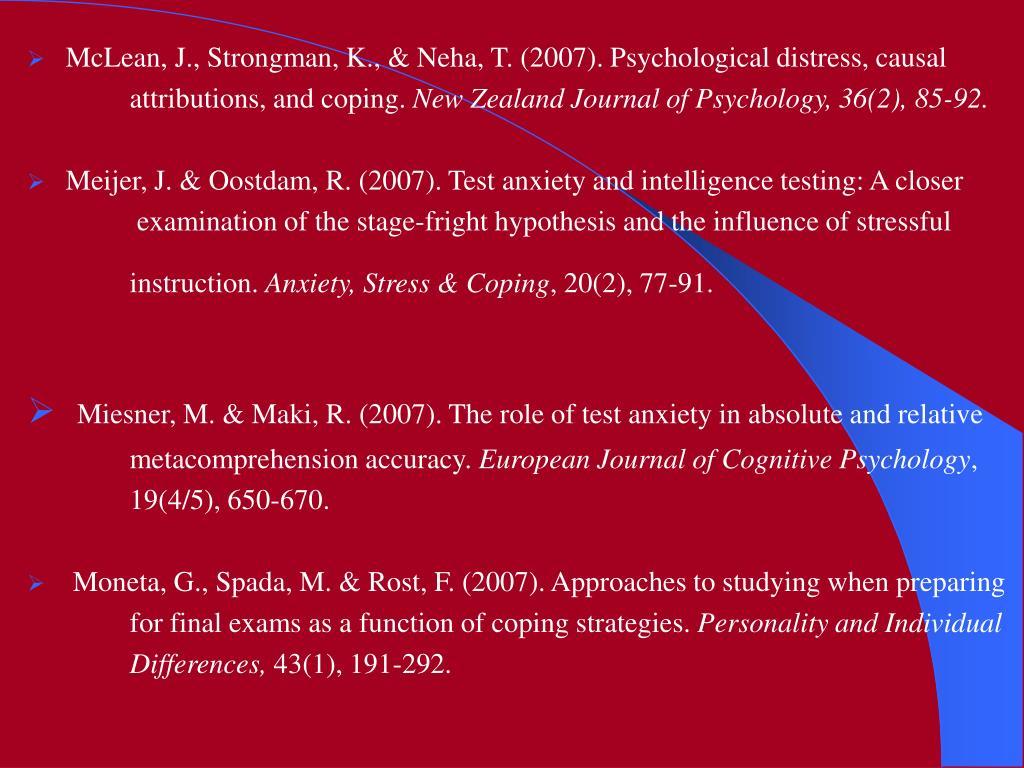 McLean, J., Strongman, K., & Neha, T. (2007). Psychological distress, causal