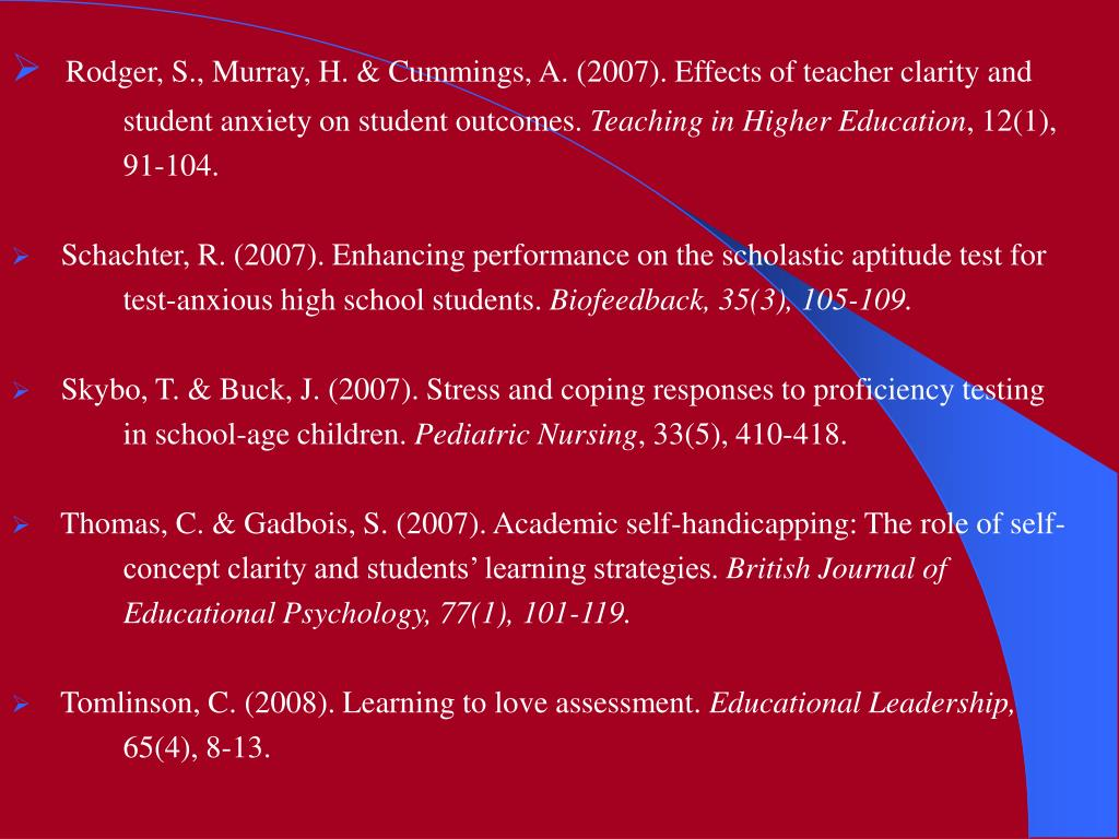 Rodger, S., Murray, H. & Cummings, A. (2007). Effects of teacher clarity and