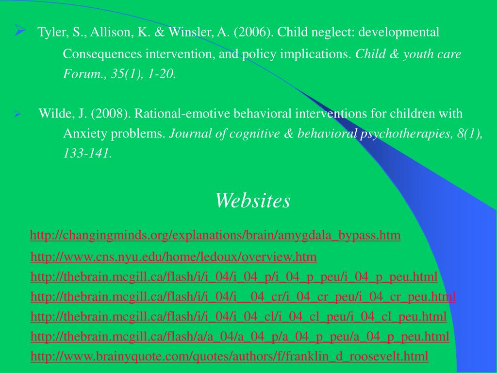 Tyler, S., Allison, K. & Winsler, A. (2006). Child neglect: developmental