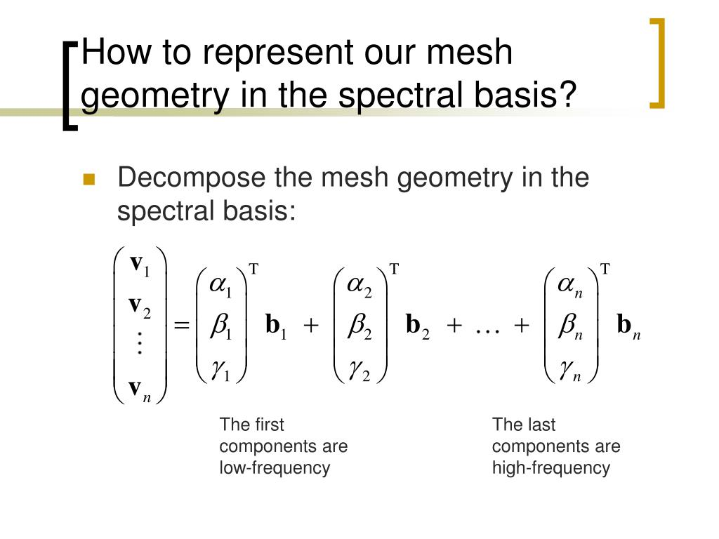 How to represent our mesh geometry in the spectral basis?