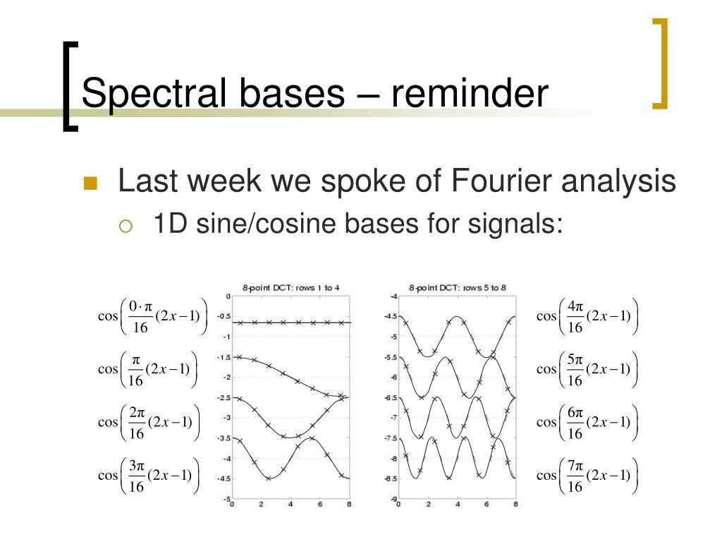 Spectral bases – reminder
