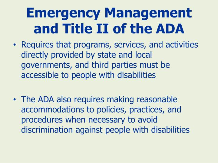 Emergency Management and Title II of the ADA