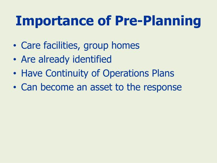 Importance of Pre-Planning