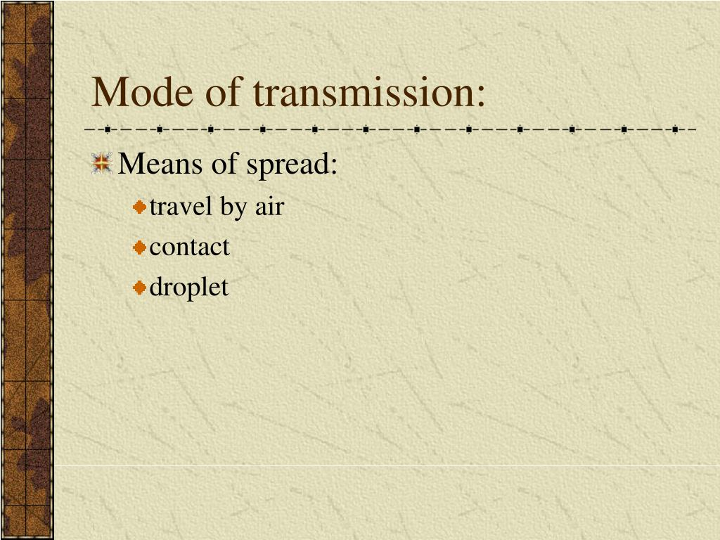 Mode of transmission: