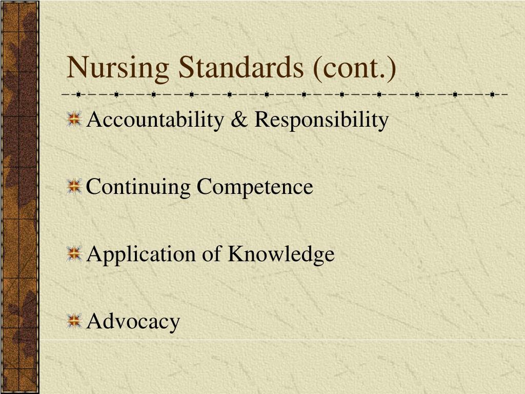 Nursing Standards (cont.)