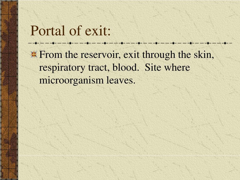 Portal of exit: