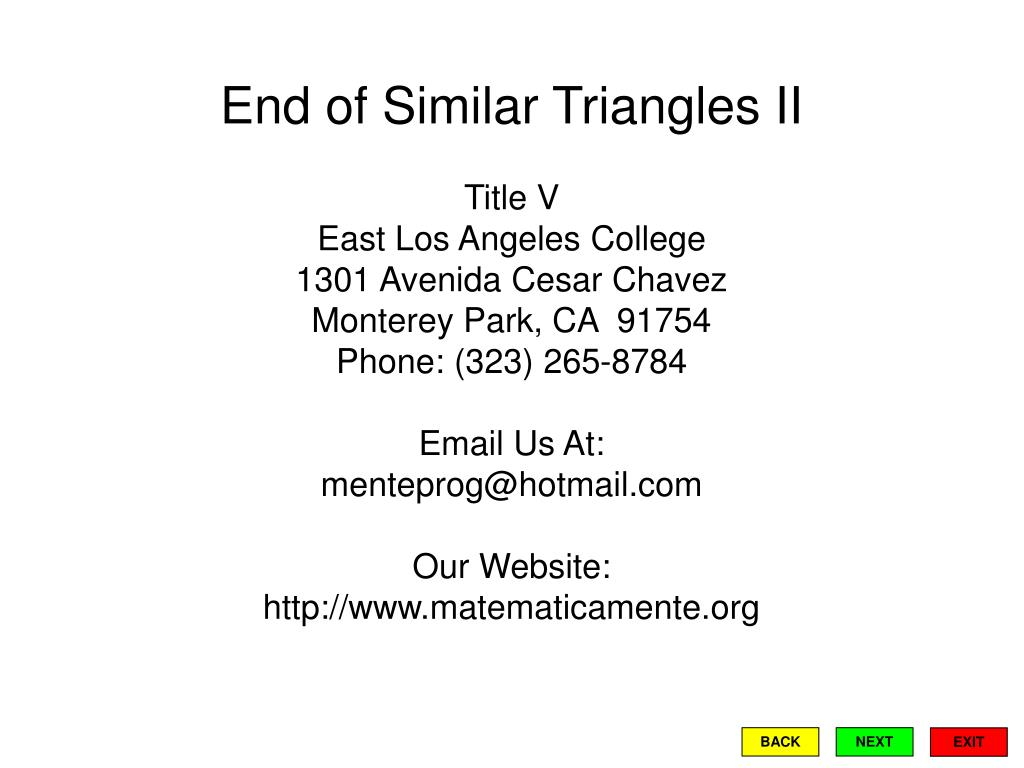 End of Similar Triangles II
