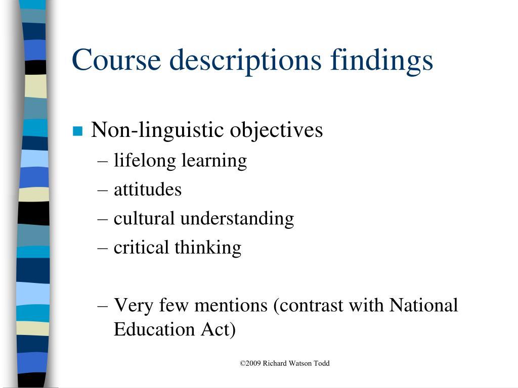 Course descriptions findings