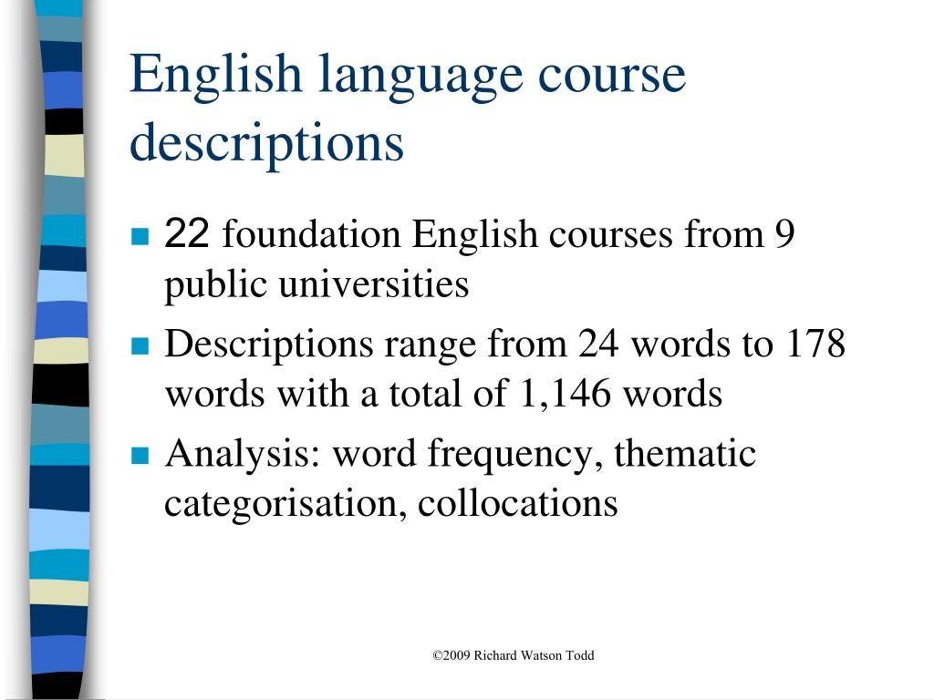 English language course descriptions