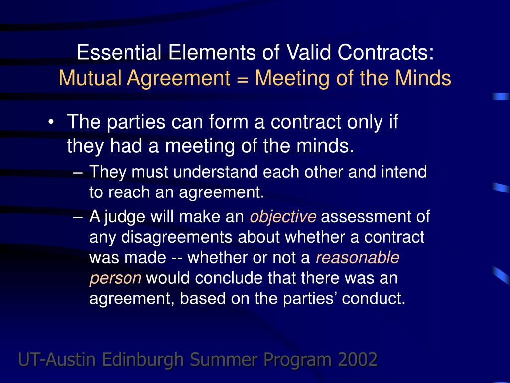 Essential Elements of Valid Contracts: