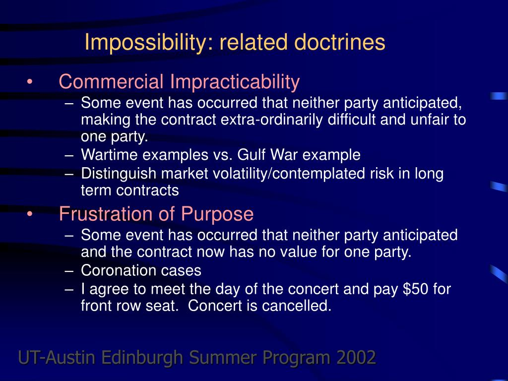 Impossibility: related doctrines