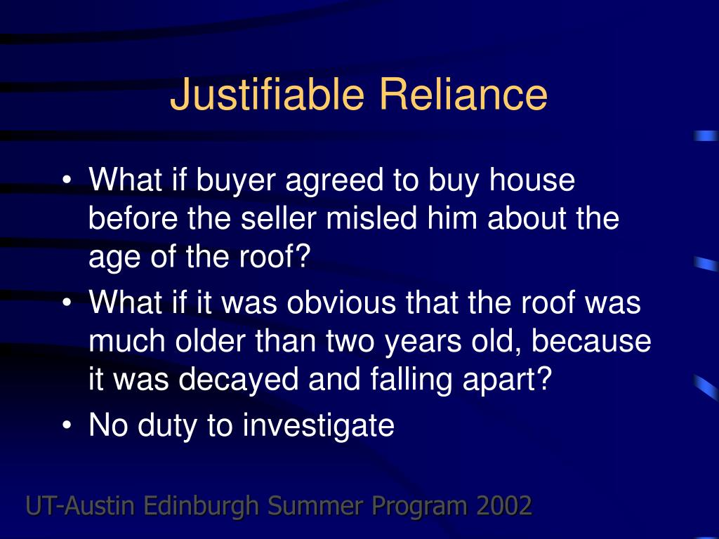 Justifiable Reliance