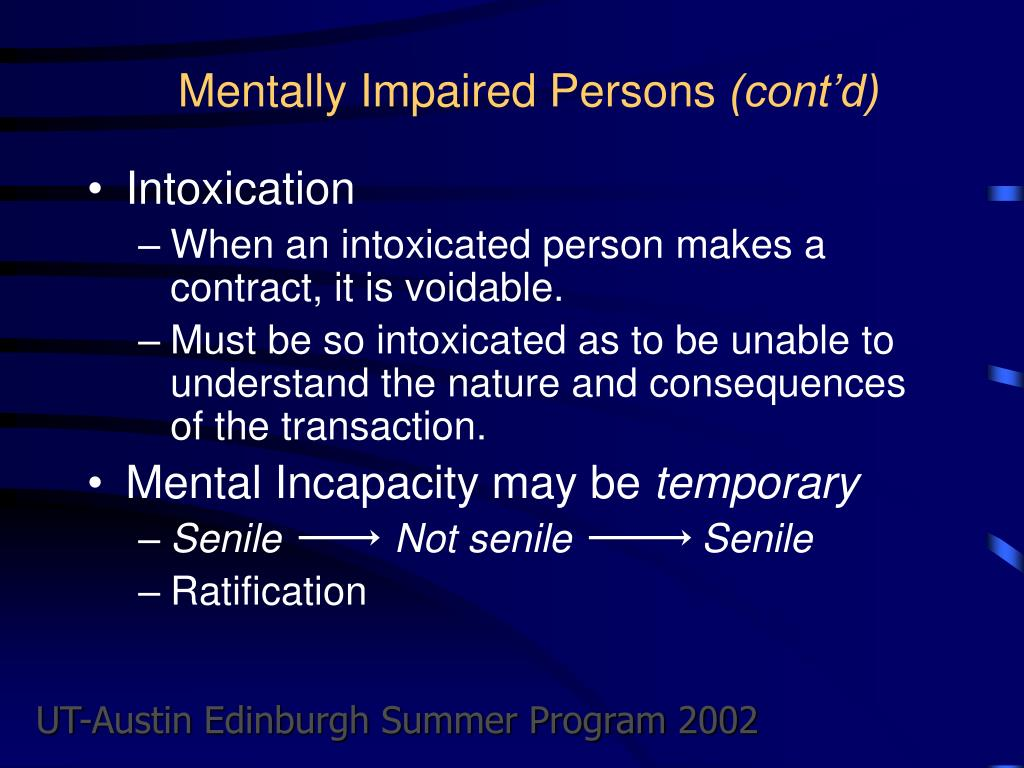 Mentally Impaired Persons