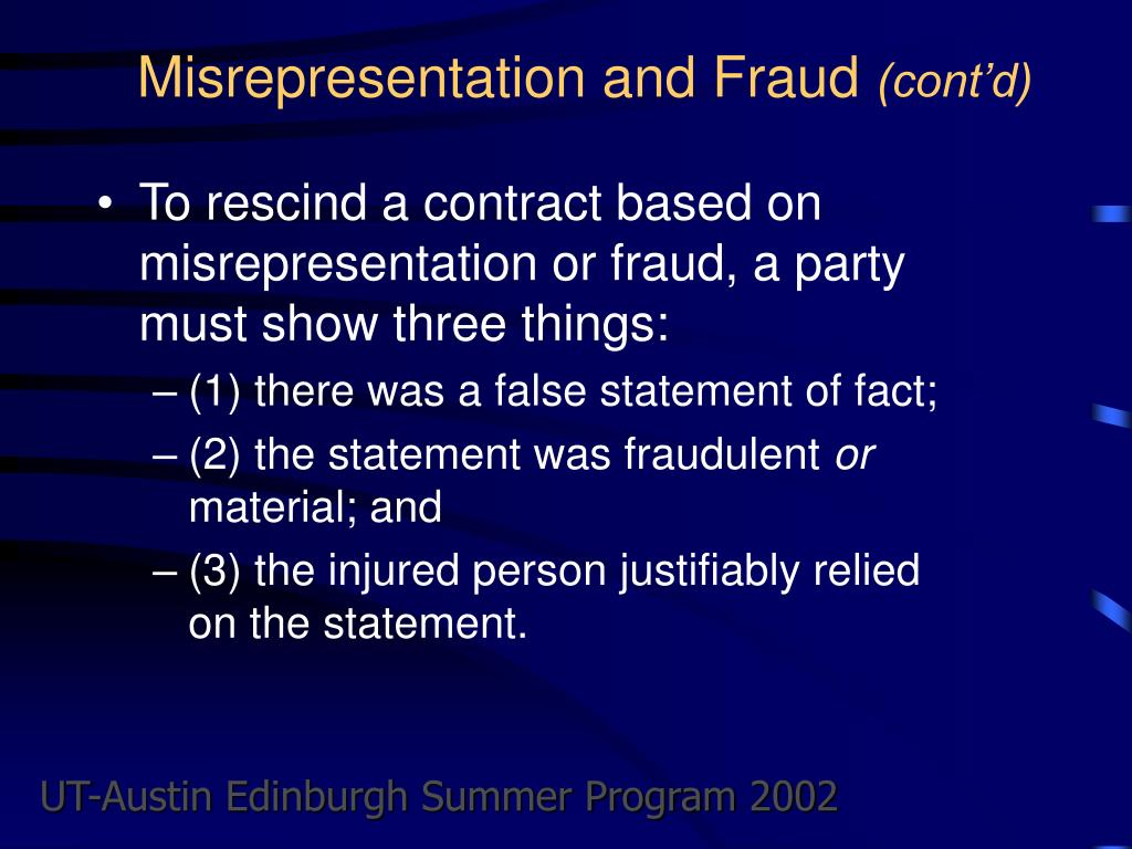 Misrepresentation and Fraud