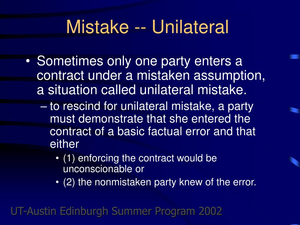 Mistake -- Unilateral