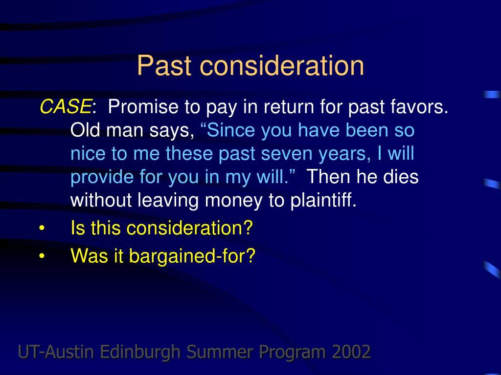 Past consideration