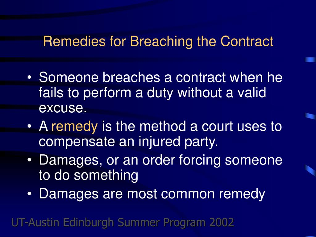 Remedies for Breaching the Contract
