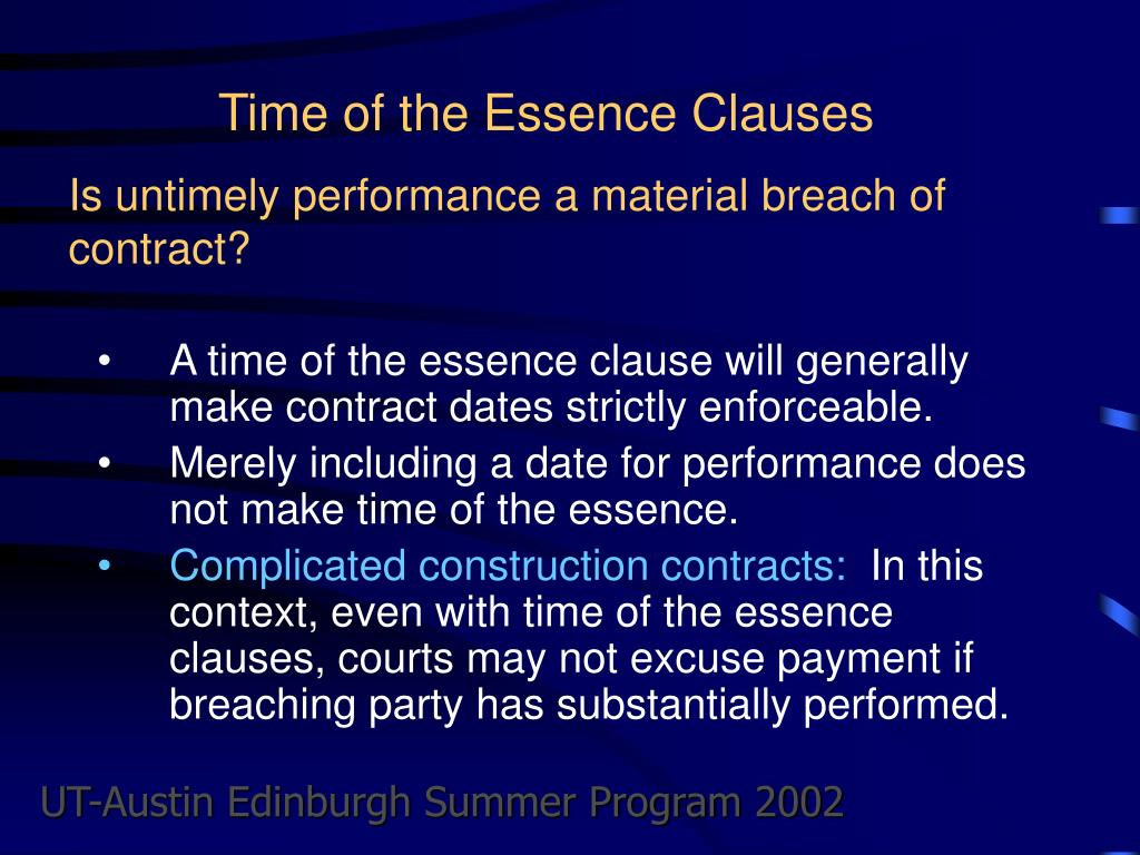 Time of the Essence Clauses