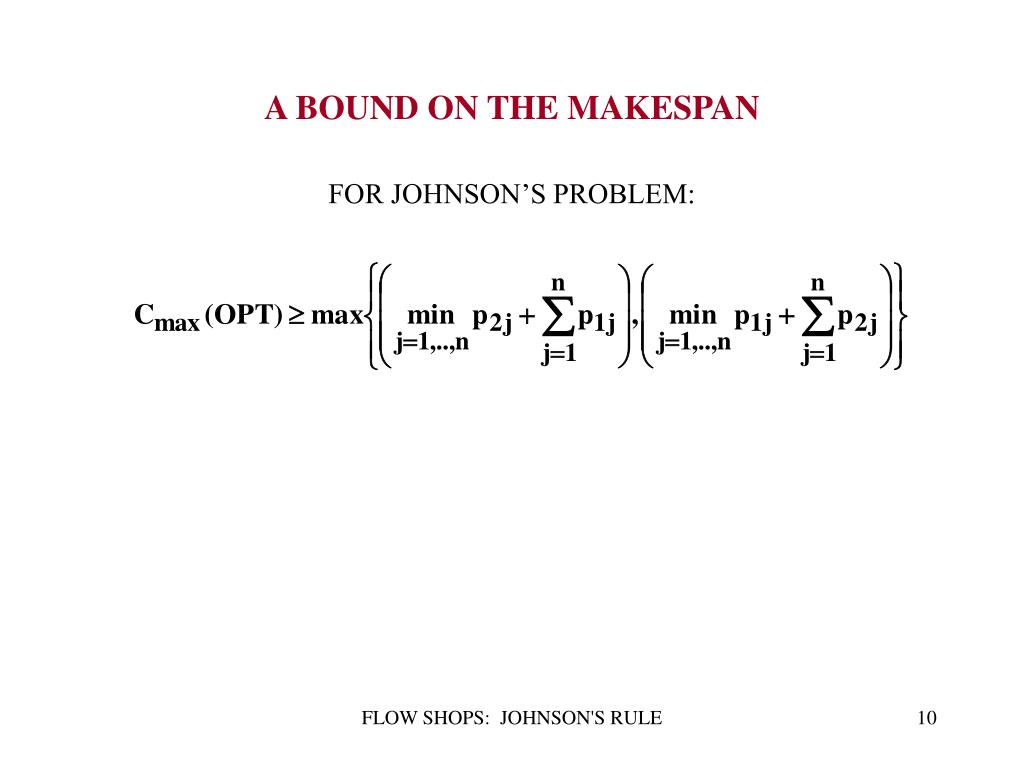 FOR JOHNSON'S PROBLEM: